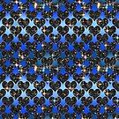 Starry hearts.Blue satin background. by starchim01