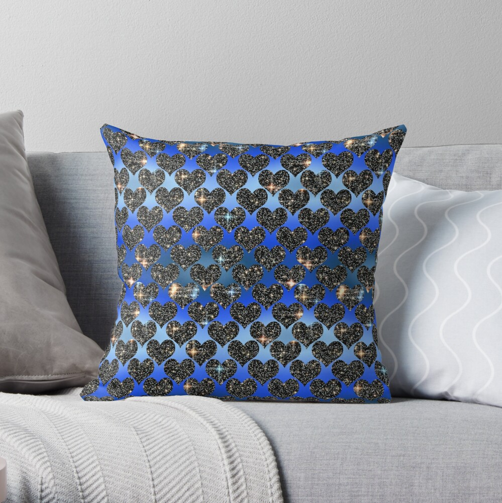 Starry hearts.Blue satin background. Throw Pillow