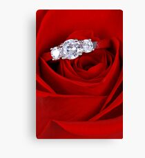 Red Rose with Diamond Ring Canvas Print
