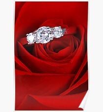 Red Rose with Diamond Ring Poster