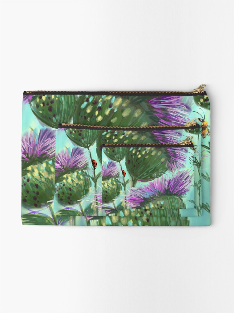 Alternate view of The Thistle Crowd Zipper Pouch