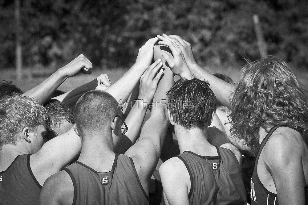 """""""Go Team"""" -pulling together as a team (b/w) by ArtThatSmiles"""