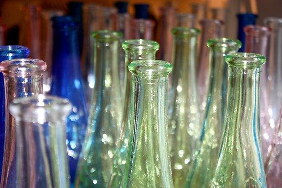 Six Green Glass Bottles