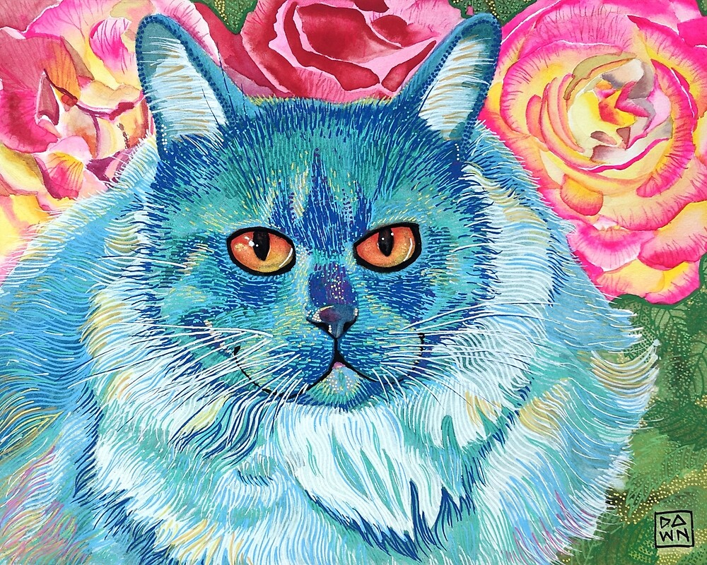 Colorful blue and pink fluffy cat painting in an energetic pop art style with rose floral background by Dawn Pedersen