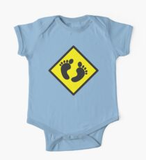 cute warning sign of feet One Piece - Short Sleeve