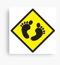 cute warning sign of feet Canvas Print