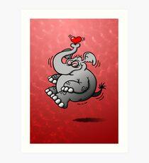 Fly me to the Moon Elephant Art Print