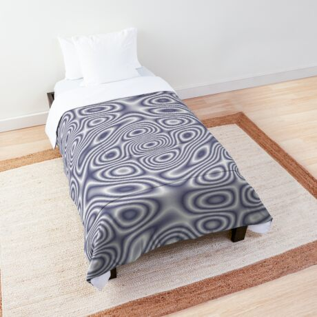 Grey Dark Blue Cosmic Liquid Pattern Comforter