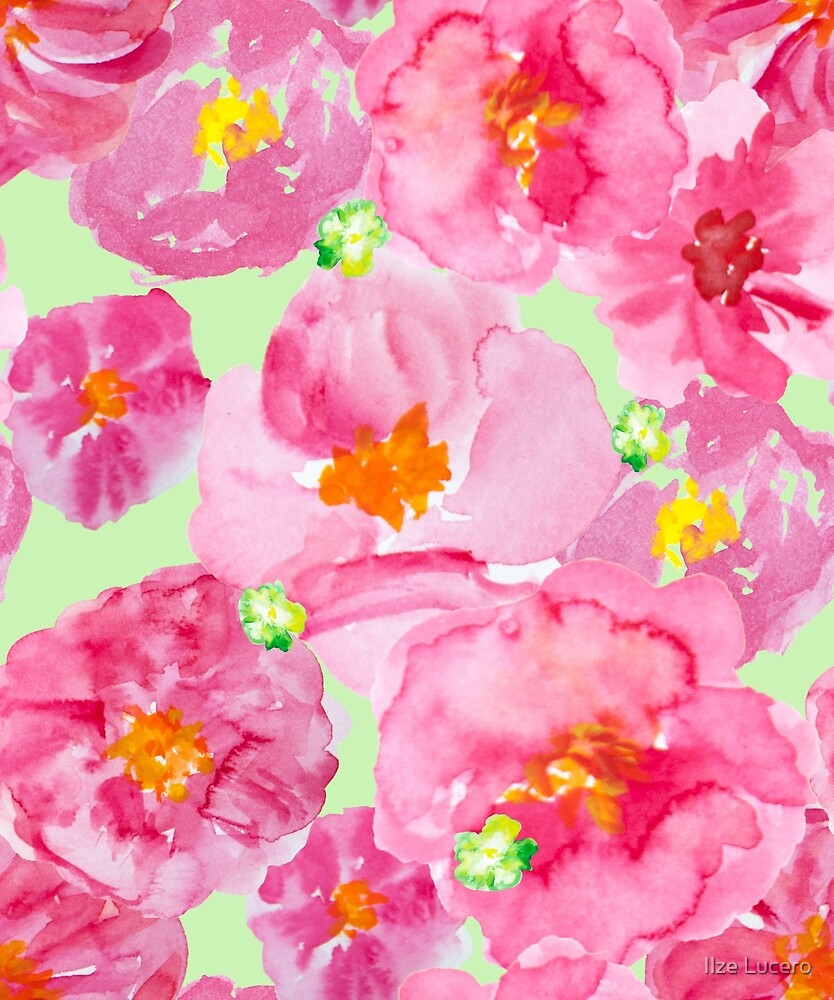 Bright pink and green watercolor flower pattern by Ilze Lucero