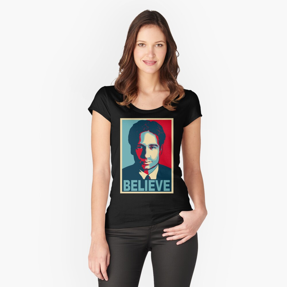 FOX MULDER BELIEVE Women's Fitted Scoop T-Shirt Front