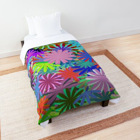 Meadow of Colorful Daisies Comforter