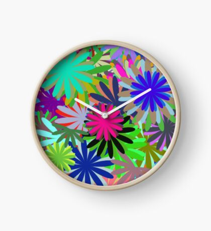 Meadow of Colorful Daisies Clock