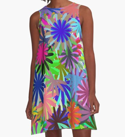 Meadow of Colorful Daisies A-Line Dress