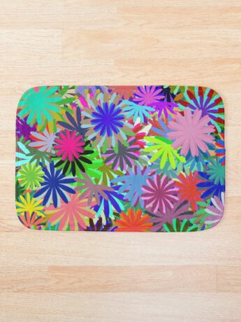 Meadow of Colorful Daisies Bath Mat