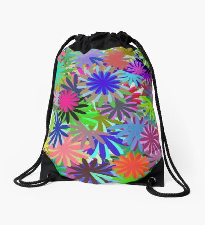 Meadow of Colorful Daisies Drawstring Bag
