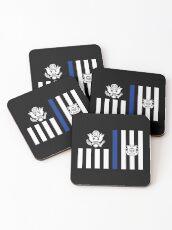 Coast Guard Thin Blue Line Ensign Coasters