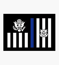Coast Guard Thin Blue Line Ensign Photographic Print