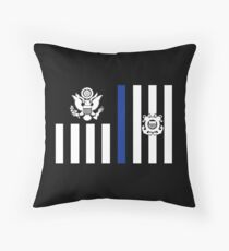 Coast Guard Thin Blue Line Ensign Throw Pillow
