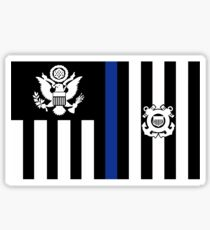 Coast Guard Thin Blue Line Ensign Glossy Sticker