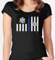 Coast Guard Thin Blue Line Ensign Fitted Scoop T-Shirt