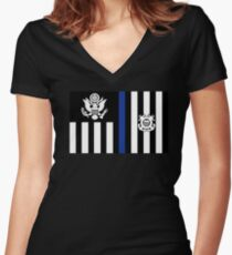 Coast Guard Thin Blue Line Ensign Fitted V-Neck T-Shirt
