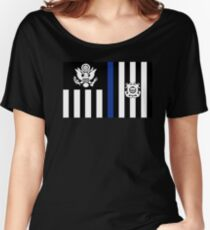 Coast Guard Thin Blue Line Ensign Relaxed Fit T-Shirt