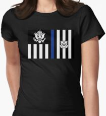 Coast Guard Thin Blue Line Ensign Fitted T-Shirt