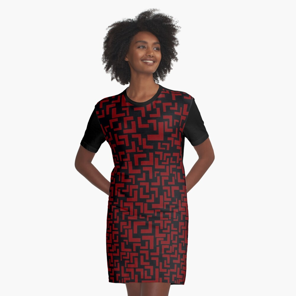 Glitches in the Void, Red Graphic T-Shirt Dress