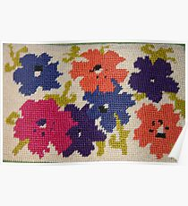 A Rainbow of Flowers~ Needlepoint Poster