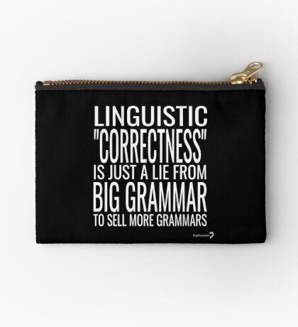 Big Grammar Zippered Pouch - Black and White Zipper Pouch