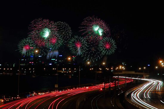 Australia Day Skyworks - Perth Western Australia  by EOS20