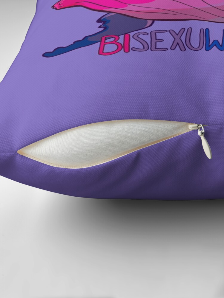 Alternate view of Bisexuwhale - with text Throw Pillow
