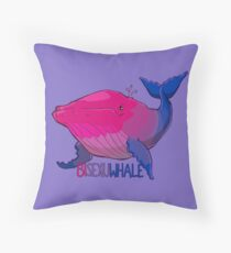 Bisexuwhale - with text Throw Pillow