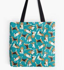 beagle scatter blue Tote Bag