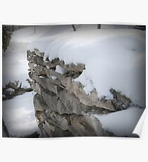 Snow on Rock Fence Poster