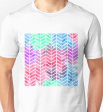 Bright Colorful Watercolor Split Chevron T-Shirt