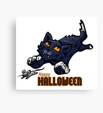 Spooky Animals Cat and Mouse Canvas Print