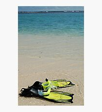 Yellow Flippers and Snorkel at Waters Edge Photographic Print