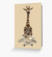 Meditating Giraffe Greeting Card