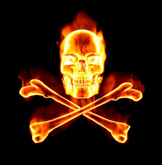 """Flaming Skull & Crossbones - Pirates Ahoy!"" Posters by ..."