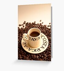 Barista Cup of Coffee and Costa Rica Arabica Beans Greeting Card