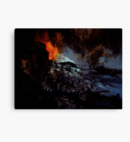 beginning spirits look on... red hot ash smoldering in a raging sea Canvas Print