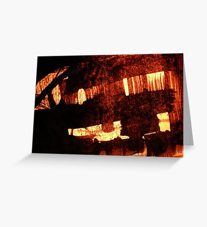 glow of grass huts.. Greeting Card