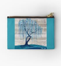 Blue on Blue Willow Tree Painting Zipper Pouch