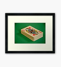 Queen of Hearts Pack of Playing Cards on Green Baize Poker Table Framed Print