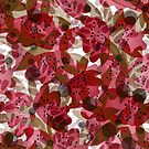 Autumn flower pattern, flowers, flower pattern, retro, autumn leaves, red, brown , red and black, creative, vintage, elegant by fuzzyfox