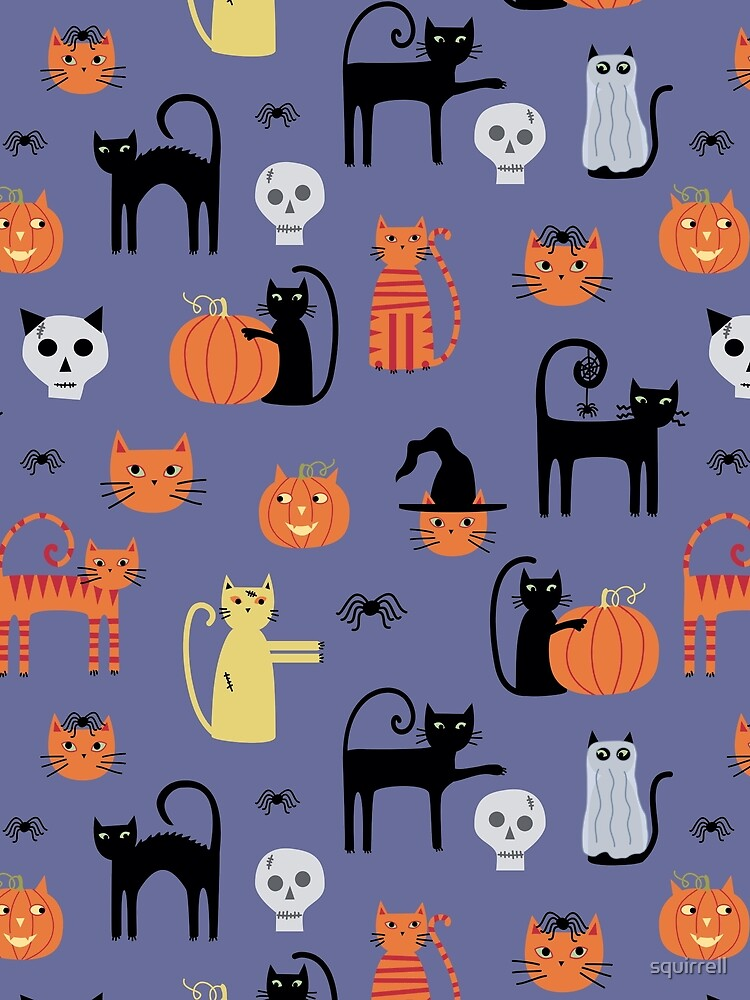 Halloween Cats and Pumpkins by squirrell