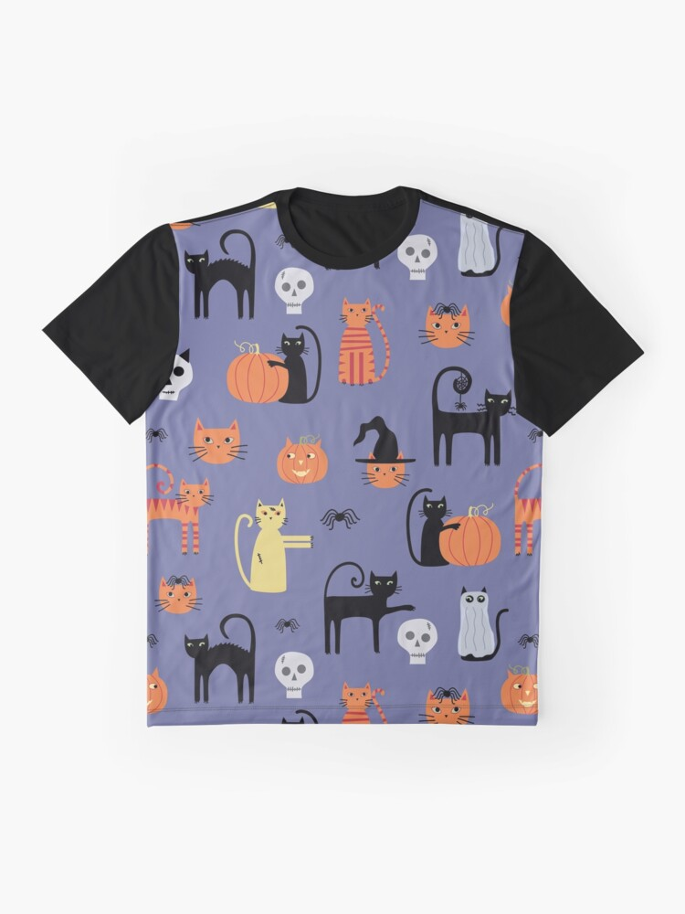 Alternate view of Halloween Cats and Pumpkins Graphic T-Shirt