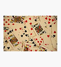 Scattered Pack of Playing Cards Hearts Clubs Diamonds Spades Pattern Photographic Print