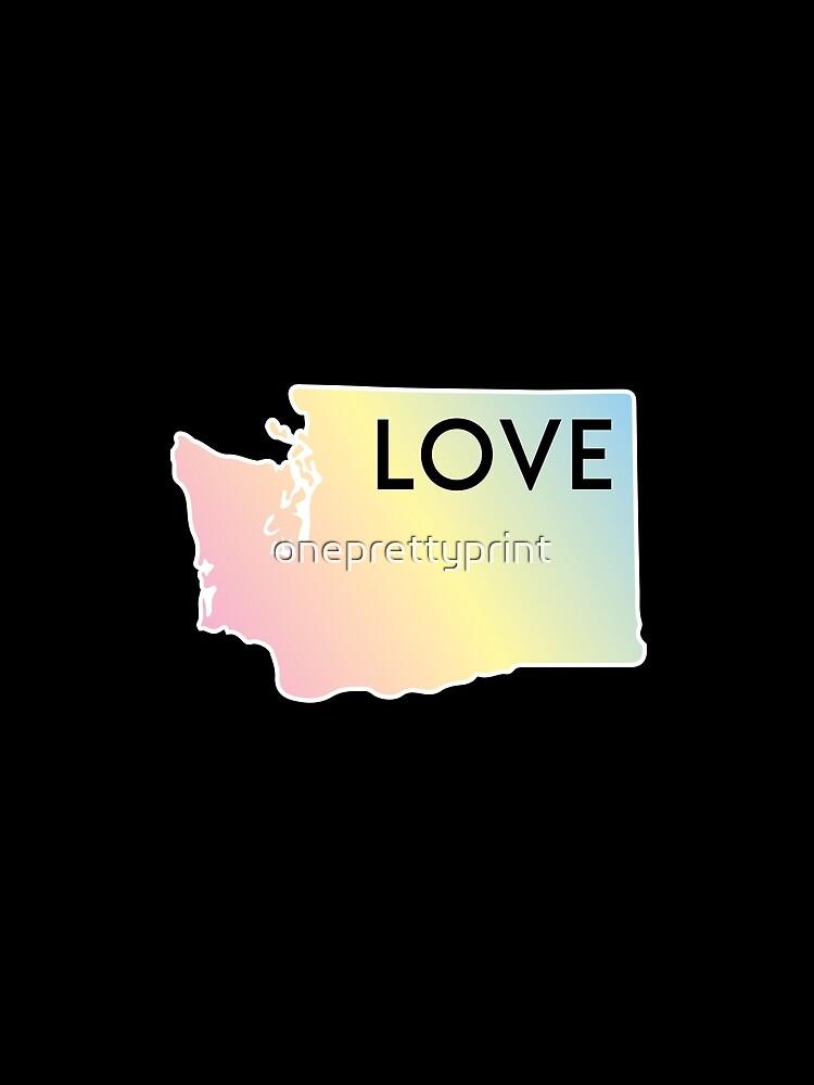 Pastel Rainbow Washington State Love by oneprettyprint